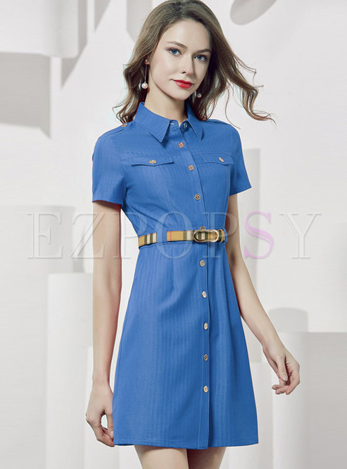 Light Blue Turn-down Collar Gathered Waist Dress