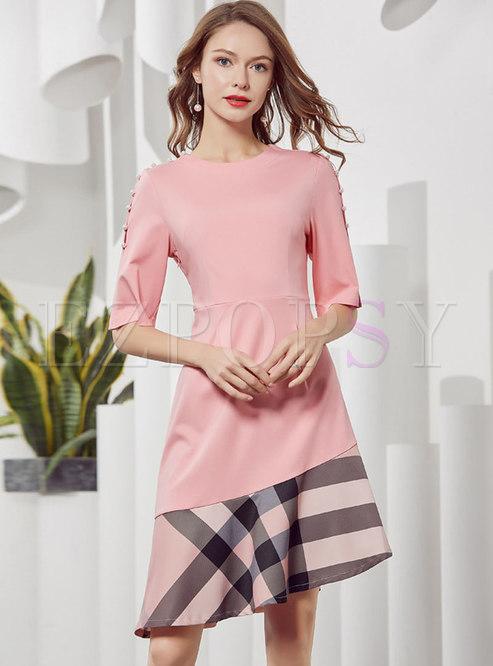 Elegant Asymmetric Falbala Plaid Pearl Buttons Skater Dress