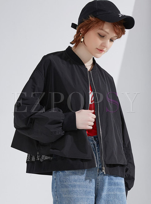 Casual Black Zippered Patchwork Loose Coat