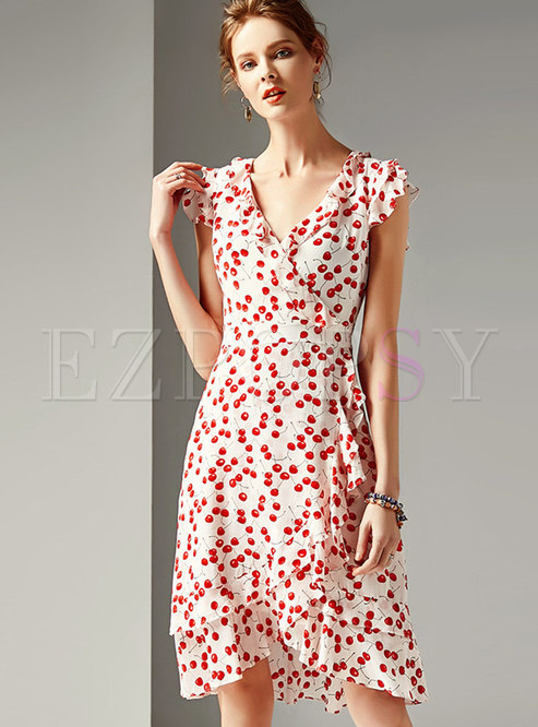 Print V-neck Sleeveless High Waist Falbala Dress