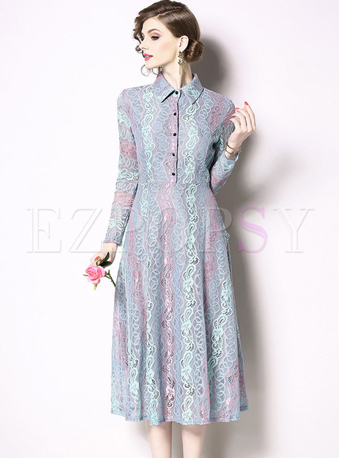 Stylish Color-blocked Lace Lapel High Waist Slim Dress