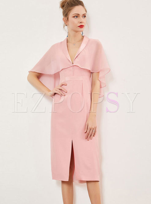 Sweet Pink Lapel Cloak Slit Bodycon Dress
