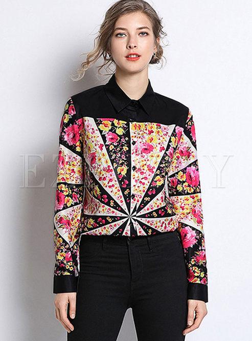 Fashion Turn Down Collar Print Blouse