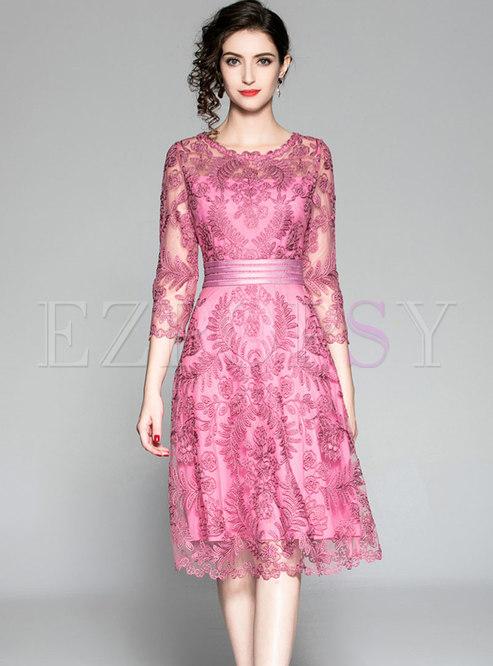 Embroidered Lace High Waist Skater Dress