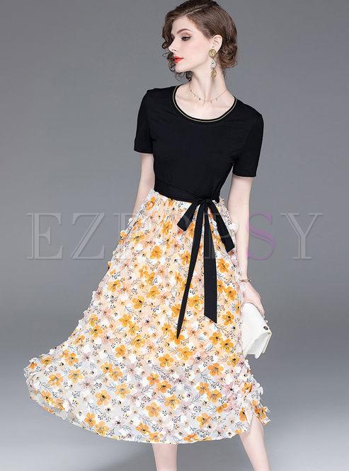 O-neck Short Sleeve Big Hem Floral Dress