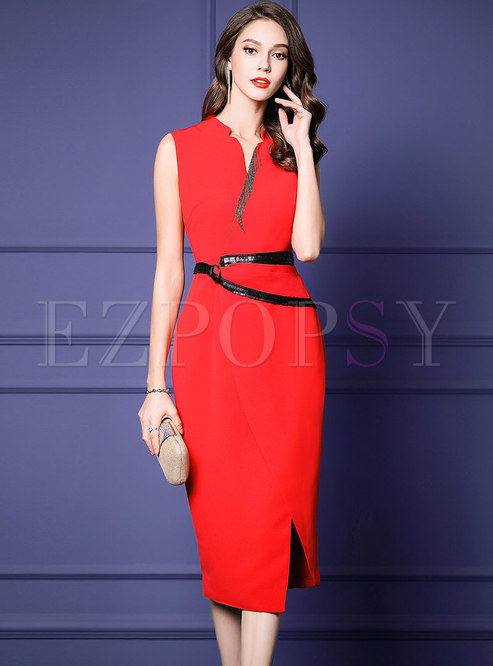 Elegant Sleeveless High Waist Slit Sheath Dress