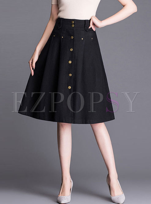 Stylish Solid Color Denim A Line Skirt