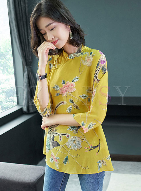 Vintage Mandarin Collar Silk Blouse