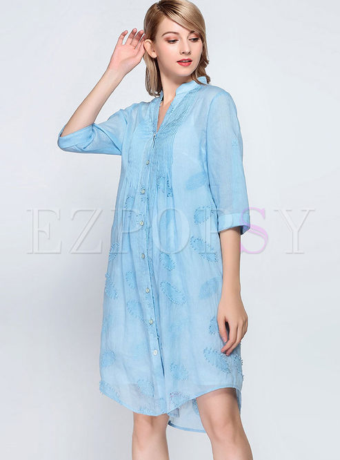 Single-breasted Shift Dress With Cami