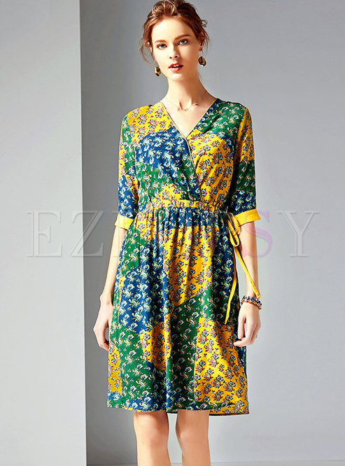 Stylish Multicolor Print Elastic Waist Skater Dress