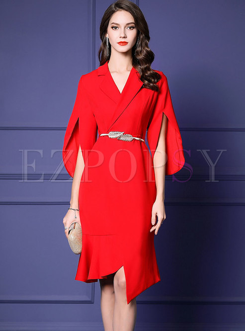 Elegant Notched Belted Asymmetric Mermaid Dress
