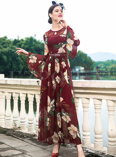 Vintage Print Gathered Waist Flare Sleeve Maxi Dress