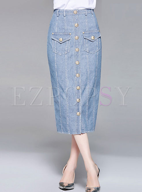 High Waist Single-breasted Denim Skirt