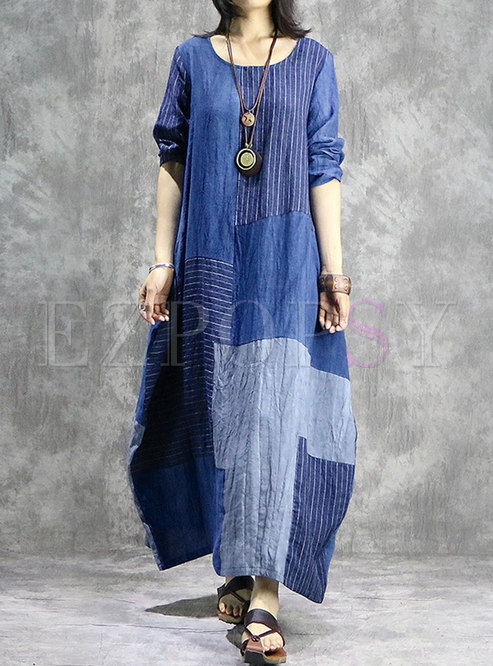 Casual Splicing O-neck Asymmetric Loose Dress