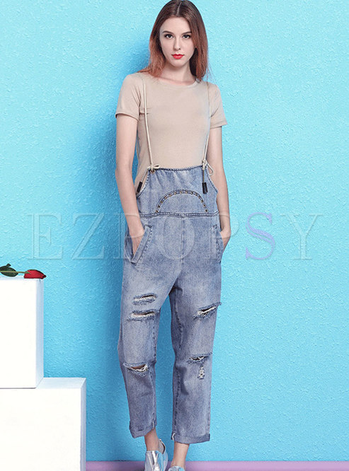 Stylish Denim Holes Loose Overalls