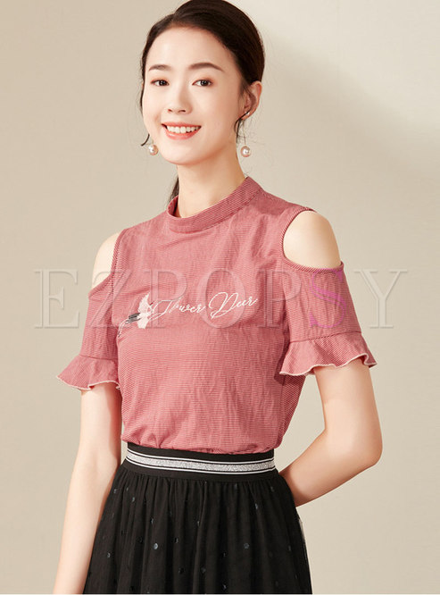 Striped Off Shoulder Stand Collar T-shirt