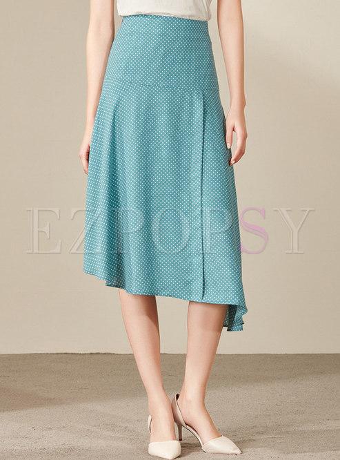 Polka Dot High Waist Asymmetric Skirt