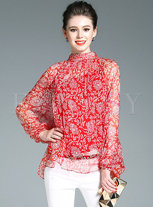 Mock Neck Print Silk Loose Pullover Blouse