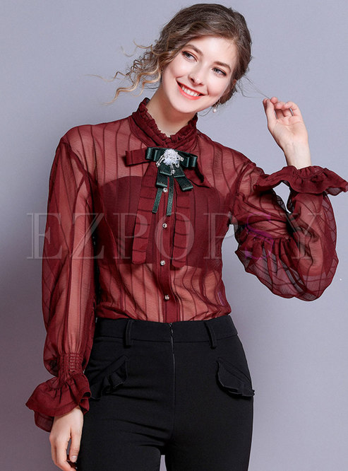 Chic Ruffled Collar Lantern Sleeve Bowknot Blouse
