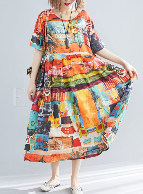 Plus Size Print Short Sleeve Loose Dress