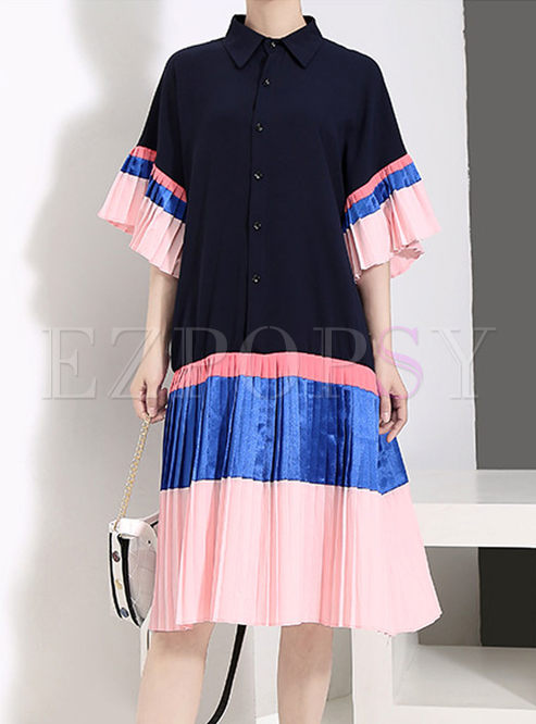 Color-blocked O-neck Flare Sleeve Dress