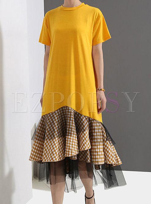 Casual Short Sleeve Splicing T-shirt Dress