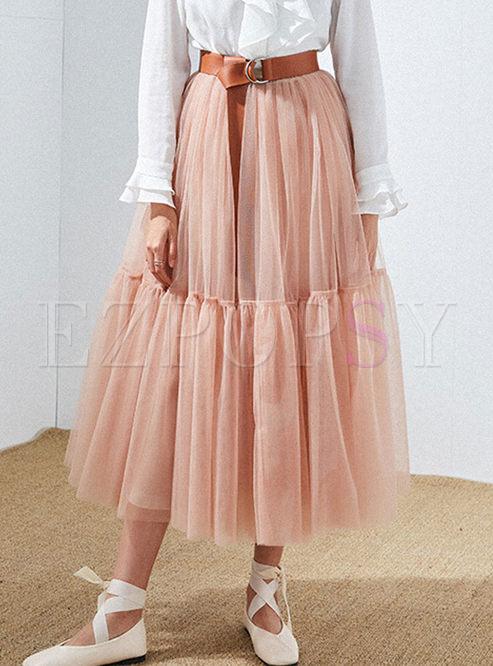 Elastic High Waist Mesh Big Hem Skirt