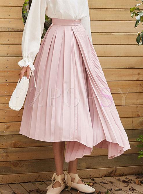 High Waist Irregular Pleated Skirt
