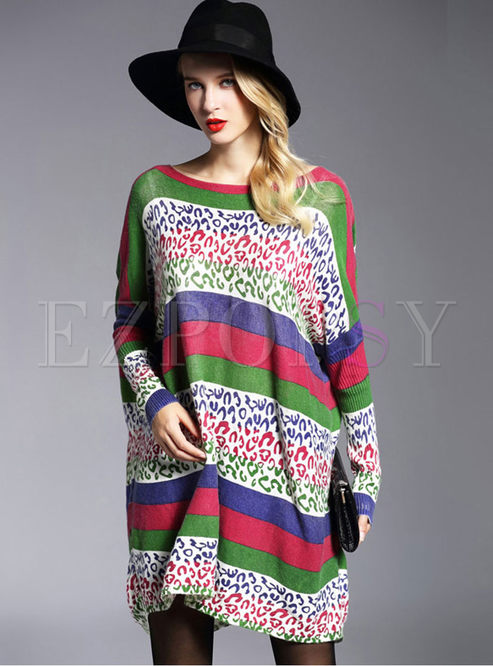 Casual Color-blocked Plus Size Knitted Dress