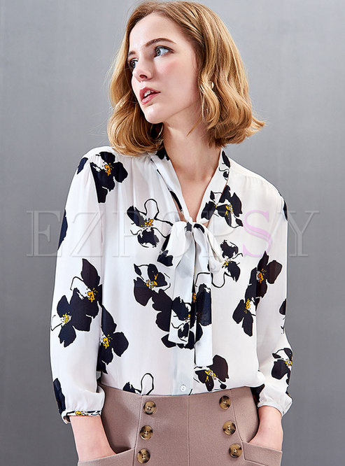 Stylish Print Bowknot Long Sleeve Blouse