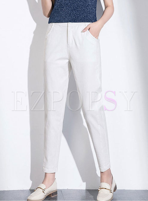 Brief Solid Color Loose Harem Pants