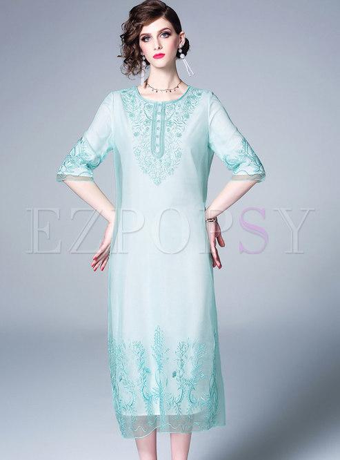 Vintage O-neck Embroidered Half Sleeve Loose Dress