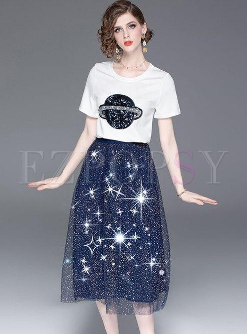 Cartoon Pattern O-neck T-shirt & Gauze Sequins Skirt
