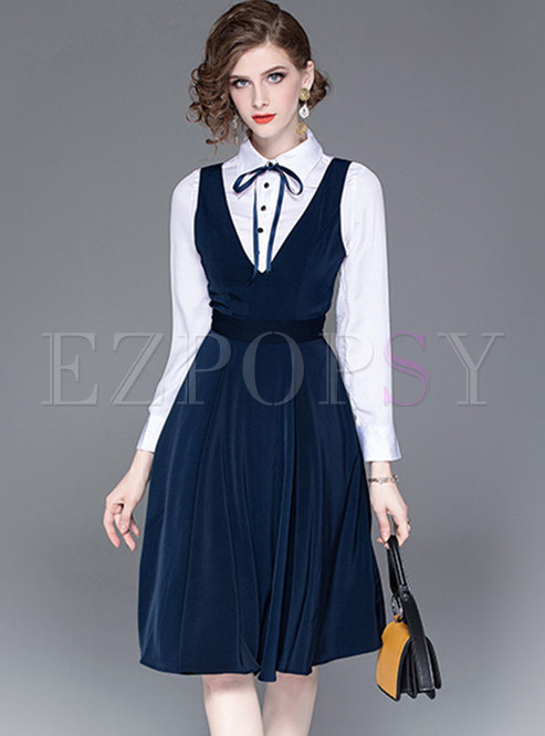 Elegant Lapel Slim Blouse & V-neck Sleeveless Skater Dress
