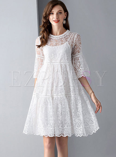 Brief White Flare Sleeve Mesh Dress