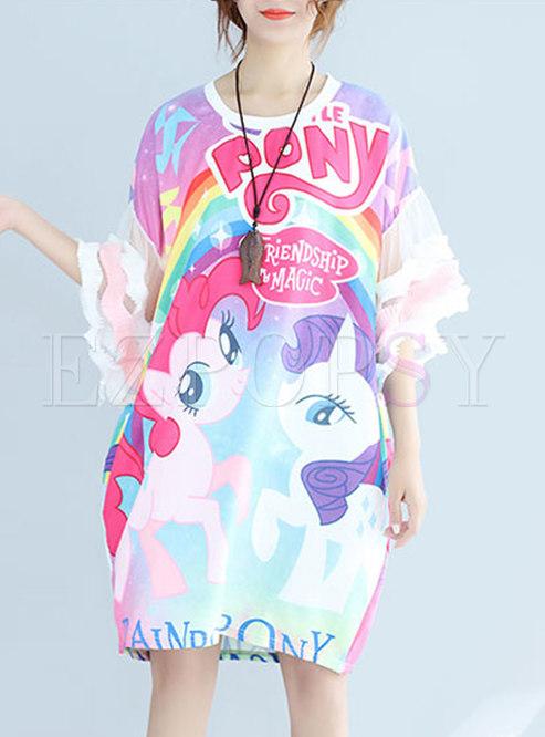 Chic Cartoon Pattern Mesh Sleeve Loose Dress