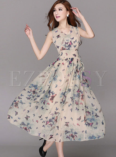 Bohemian V-neck Sleeveless Print Maxi Dress