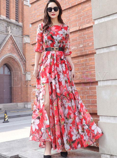 Stylish Three Quarters Sleeve Maxi Dress