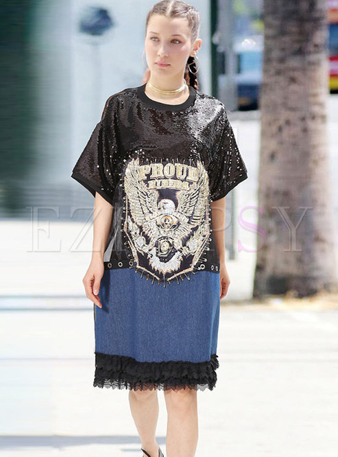 Stereoscopic Decoration Sequined Patch T-shirt Dress