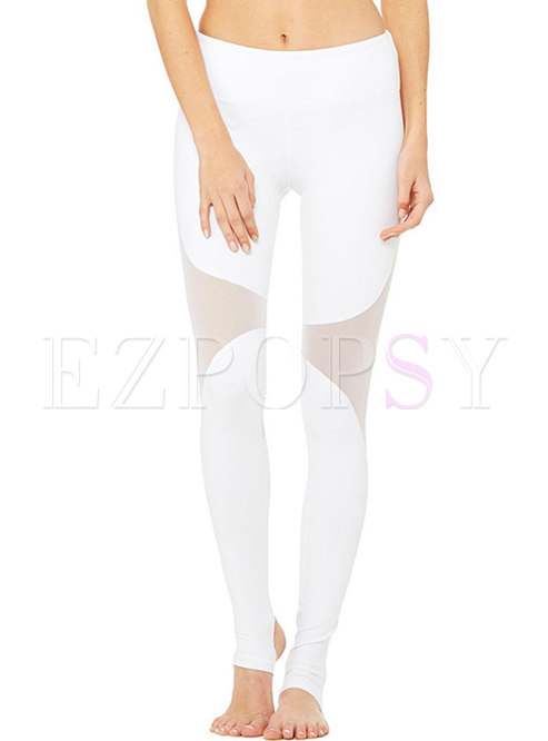 Chic Mesh Splicing Hollow Out Slim Yoga Pants