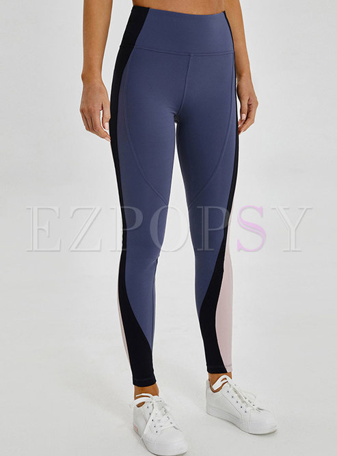 Color-blocked High Waist Elastic Fitness Pants