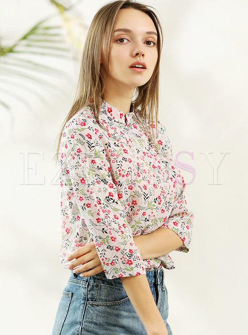 863268e14fa638 Blouses.   Vintage Multicolor Stand Collar Silk Blouse