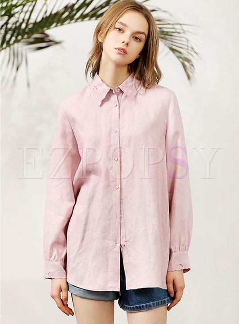 Brief Pure Color Lapel Linen Blouse
