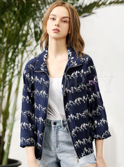 Casual Turn-down Collar Zippered Silk Jacket