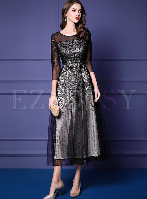Elegant Splicing Embroidered Drilling Party Maxi Dress