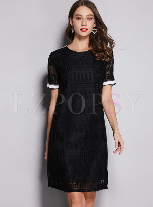 Lace Color-blocked O-neck Shift Dress