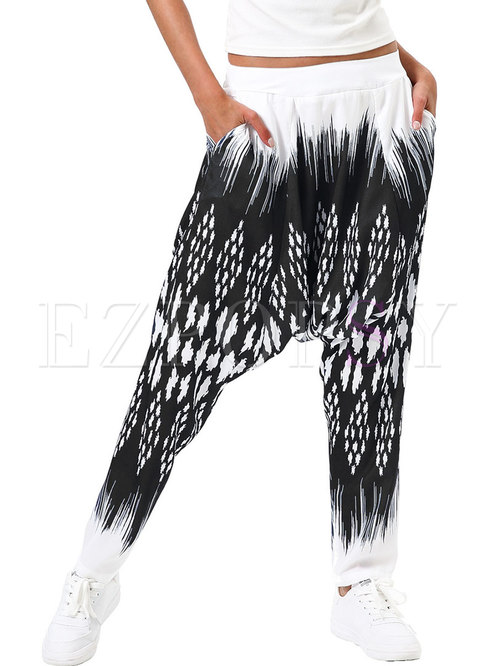 Casual Digital Print Loose Fitness Harem Pants
