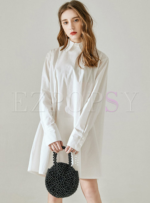 Brief White Single-breasted T-shirt Dress