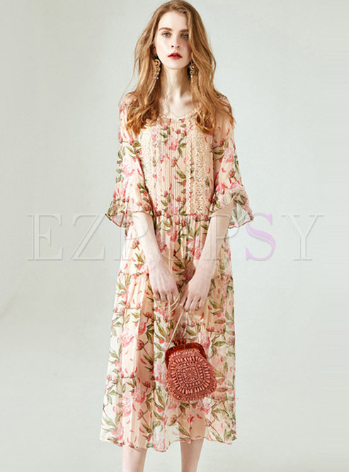 Casual Silk Print Lace Fare Sleeve Shift Dress