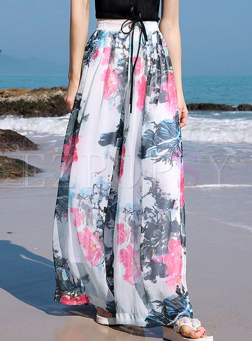 Bohemian High Waist Printed Wide Leg Pants